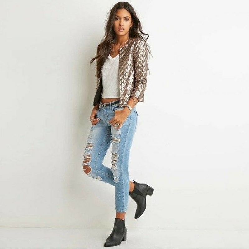 Sequin Quilted 3/4 Sleeve Jacket