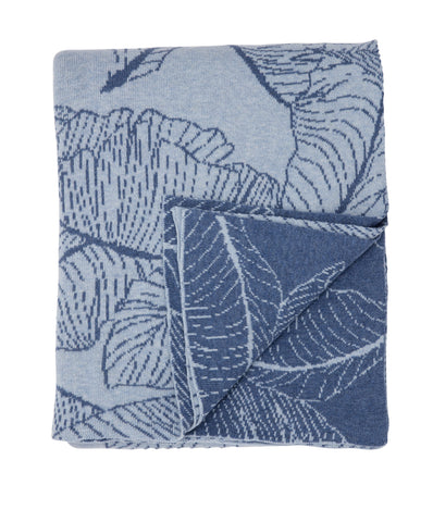 Leaves blanket, blue