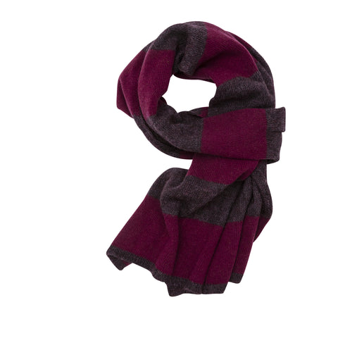 Organic Stripes scarf, dark bordeaux