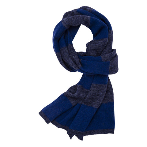 Organic Stripes scarf, blue
