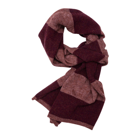 Organic Stripes scarf, light bordeaux