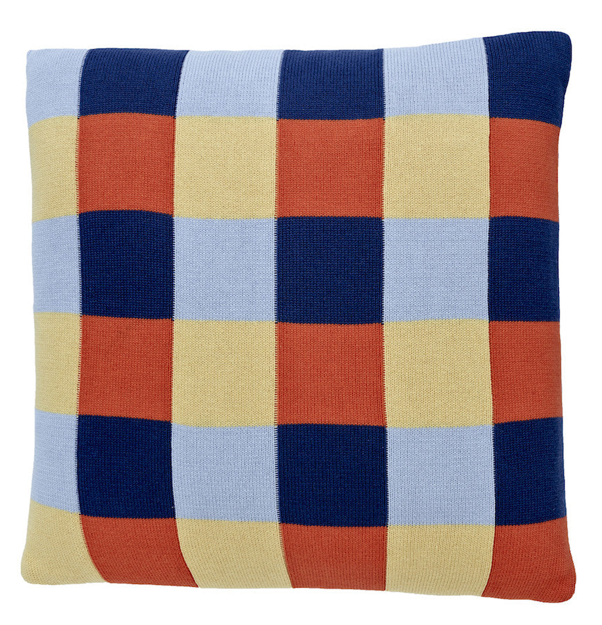 Squares cushion, blue/yellow