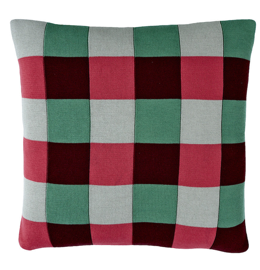 Squares cushion, green/pink