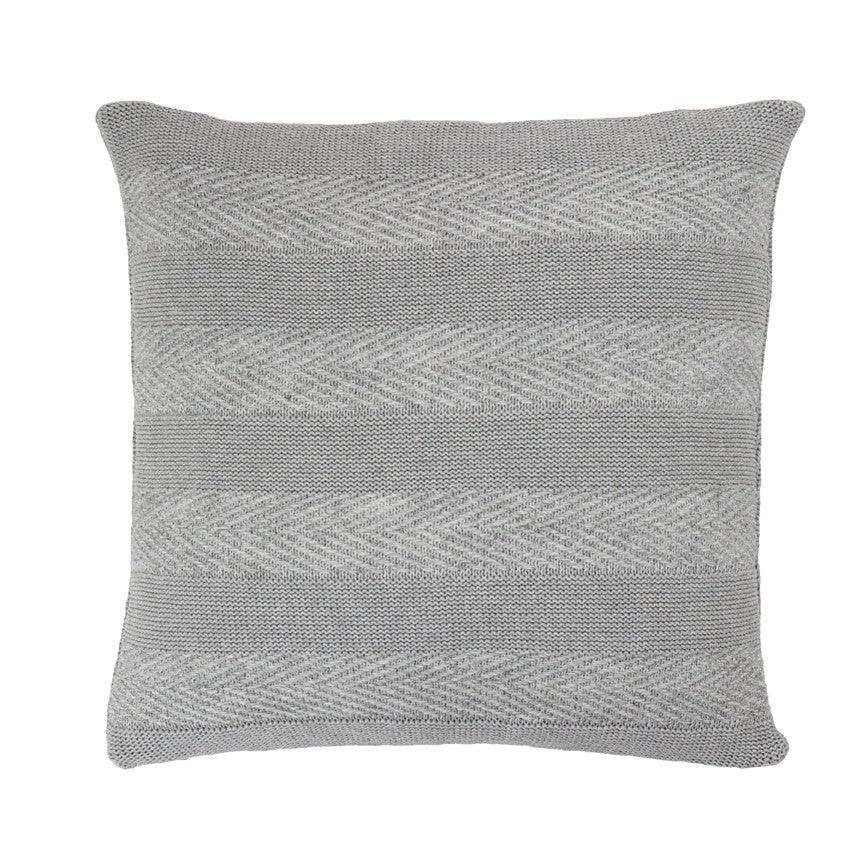 Tactile Stripes cushion, light grey (front)