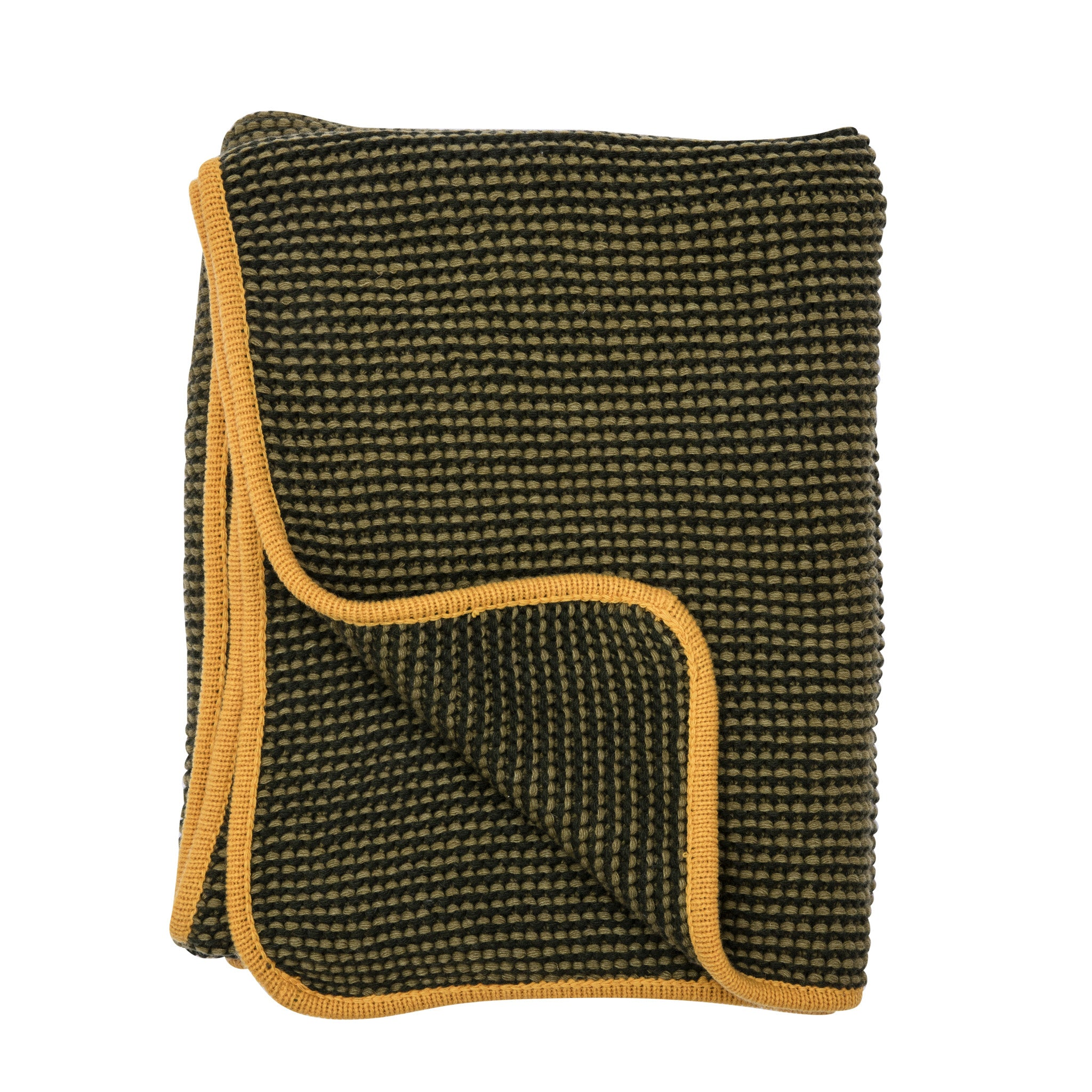 Wave blanket, moss green/yellow
