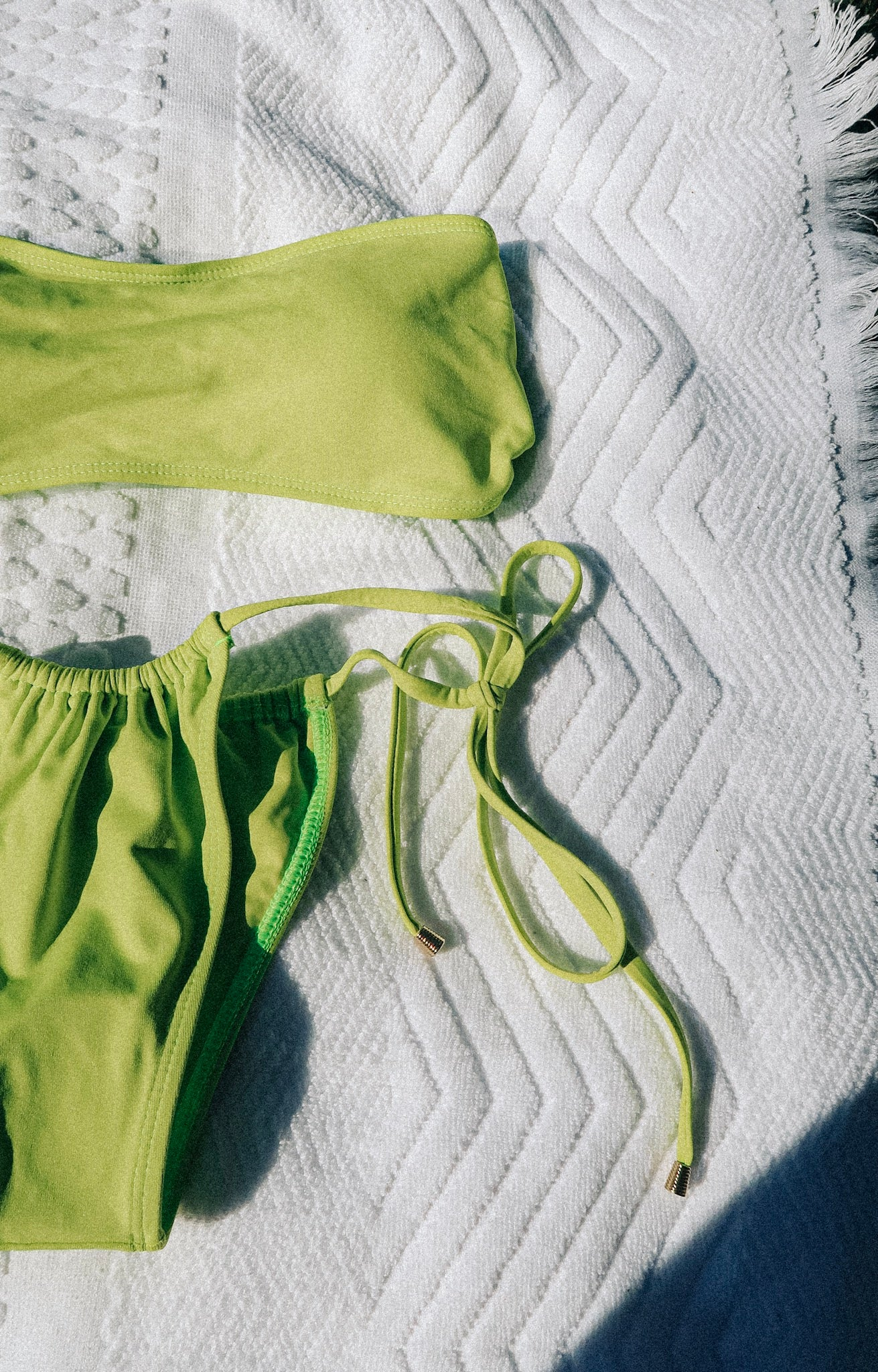 Zingy lime drawstring bikini bottoms with gold toggles. Made using sustainable and eco-friendly fabric - Amni Soul Eco®.