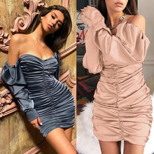 Load image into Gallery viewer, 'Final Boss' Puff Shoulder Satin Mini Dress (4 Colors)