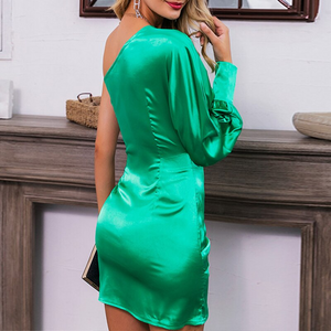 'Green With Envy' Satin Beauty Bodycon Minidress