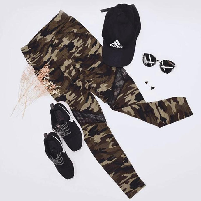 'Athletic Leisure' Camo + Mesh Cut Leggings-LovelyThreads.co