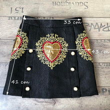 Load image into Gallery viewer, 'Black Heart' Floral High Waist Designer Skirt