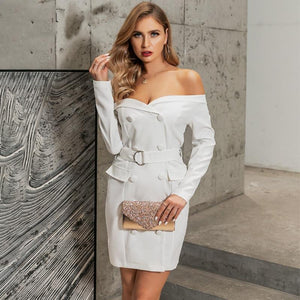 'Glamour In New York' Off Shoulder Mini/Midi