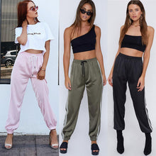 Load image into Gallery viewer, 'Stripe Me Pink' Sheen Fashion Trackpants-LovelyThreads.co
