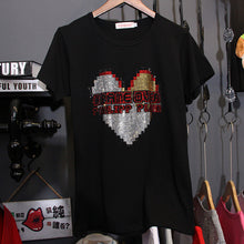 Load image into Gallery viewer, 'Game Over' Rhinestone Detail Cotton T-shirt-LovelyThreads.co