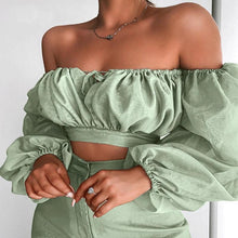 Load image into Gallery viewer, 'Off The Record' Shoulder Cut Backless Crop Top-LovelyThreads.co