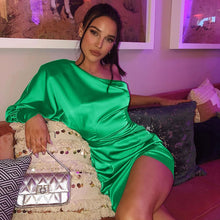 Load image into Gallery viewer, 'Green With Envy' Satin Beauty Bodycon Minidress