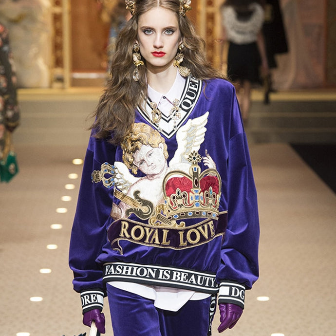'ROYAL LOVE' Designer Embroidered Sweater