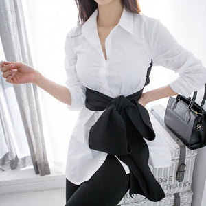 'Present Me' Korean Fashion Inspired Bow Blouse-LovelyThreads.co