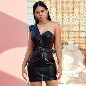 'Villain Babe' Single Shoulder Leather Mini Dress