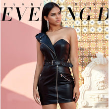 Load image into Gallery viewer, 'Villain Babe' Single Shoulder Leather Mini Dress