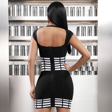 Load image into Gallery viewer, 'Ace Of Spades' Modern Checkers Mini Dress