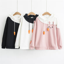 Load image into Gallery viewer, 'Winter Struggles' Rabbit + Carrot String Hoodie-LovelyThreads.co