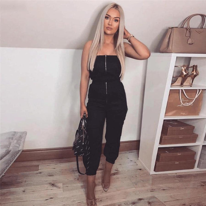 'Love Me Layla' Zipper + Pockets Jumpsuit-LovelyThreads.co