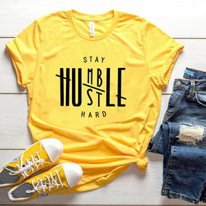 'Stay Humble, Hustle Hard' Chic T-shirt (6 Colors)-LovelyThreads.co