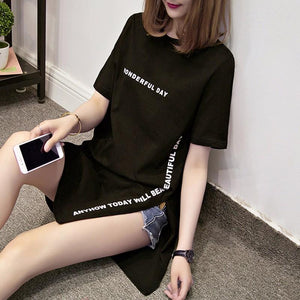 'WONDERFUL DAY' Modern Long Cut T-Shirt-LovelyThreads.co