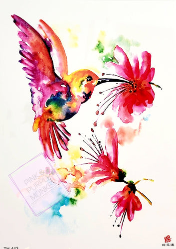Light Watercolor Hummingbird Tattoo - 8 x 5