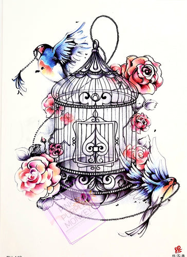 Birdcage and Birds Tattoo - 8 x 5