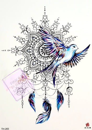 Pastel Dove and Mandala Feather Tattoo - 8 x 5