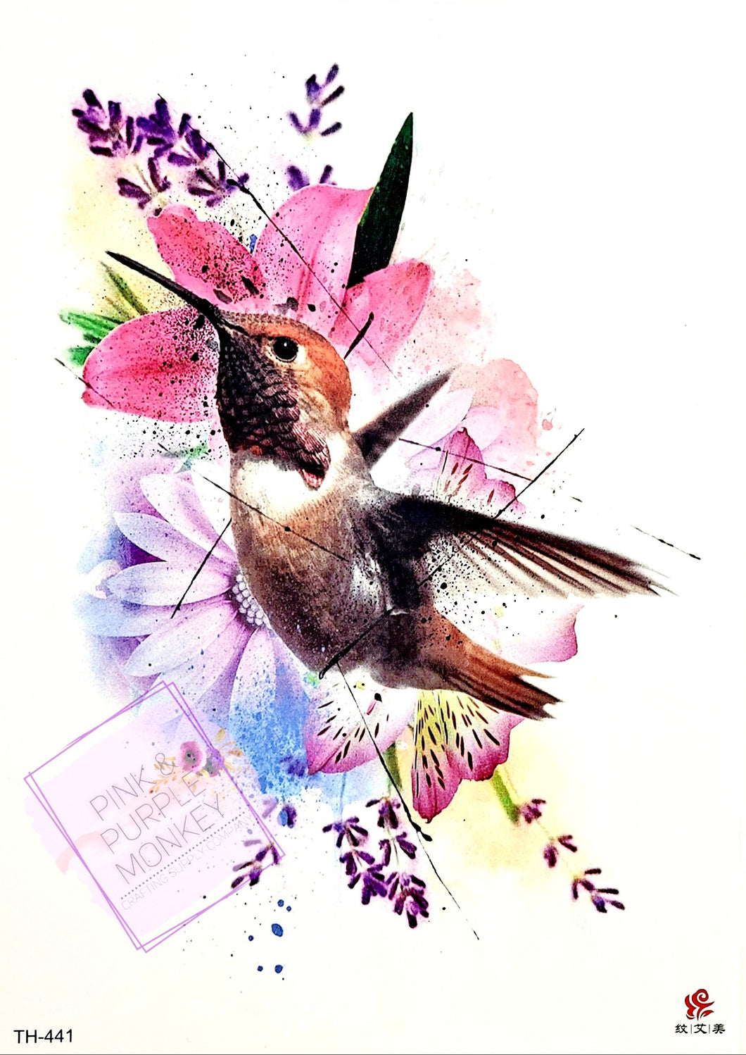 Colorful Floral Hummingbird Tattoo - 8 x 5