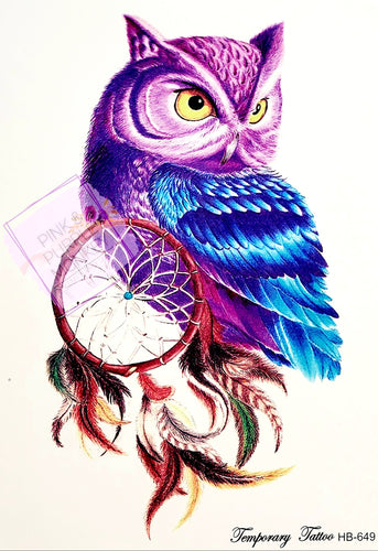 Purple and Blue Owl with Dreamcatcher Tattoo - 8 x 5
