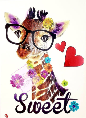 Sweet Giraffe with Glasses Tattoo - 8.5