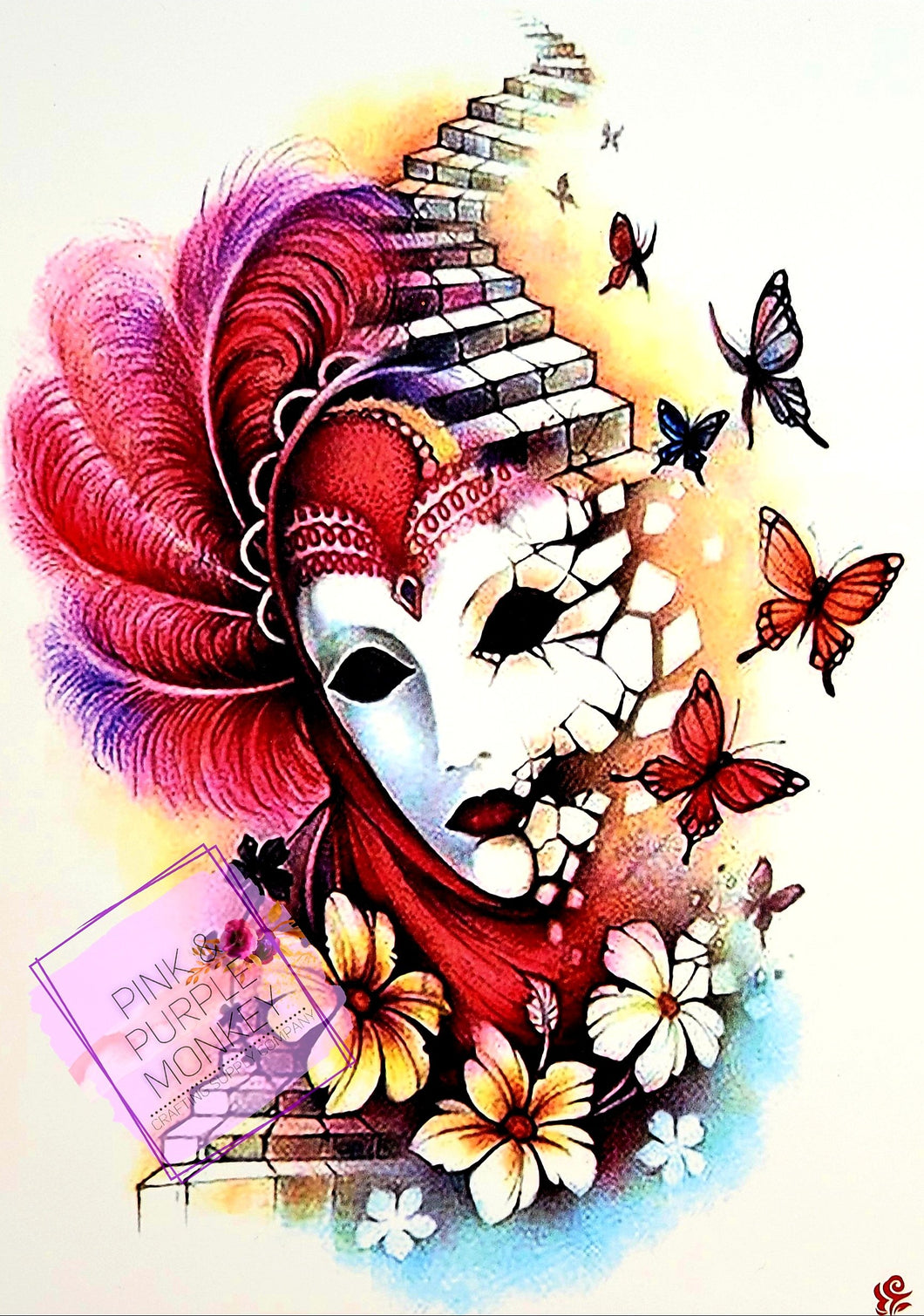 Harlequin Mask with Butterflies Tattoo - 8 x 5