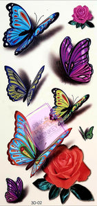 3D Butterfly and Rose Tattoos - 7 x 3""