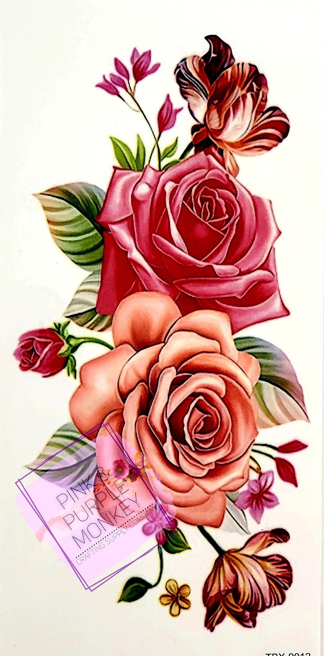 Pink Roses Floral Tattoo - 7 x 3