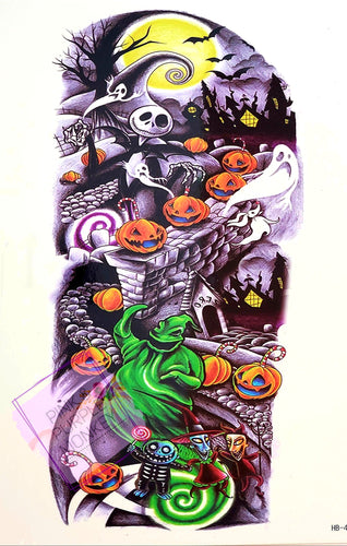 Dancing Pumpkins Halloween Nightmare Tattoo - 8 x 5