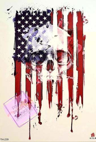 Flag and Skull Patriotic Tattoo - 8x5