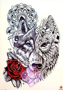Mandala Wolf with Red Rose Tattoo - 8.5""