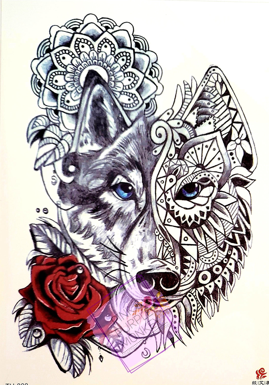 Mandala Wolf with Red Rose Tattoo - 8.5
