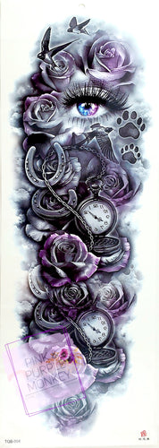 Black and Lilac Rose, Horseshoe, Pocket Watch and Eye Tattoo - 18 x 6