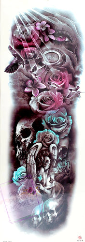 Teal and Purple Angel, Skull and Eye Tattoo - 18 x 6