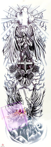 Black and White Archangel and Cross Tattoo - 18 x 6