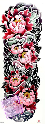 Black, Pink and Green Floral Tattoo - 18 x 6