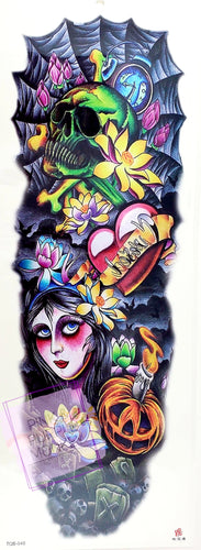 Skulls and Graveyard with Girl and Flowers Tattoo - 18 x 6