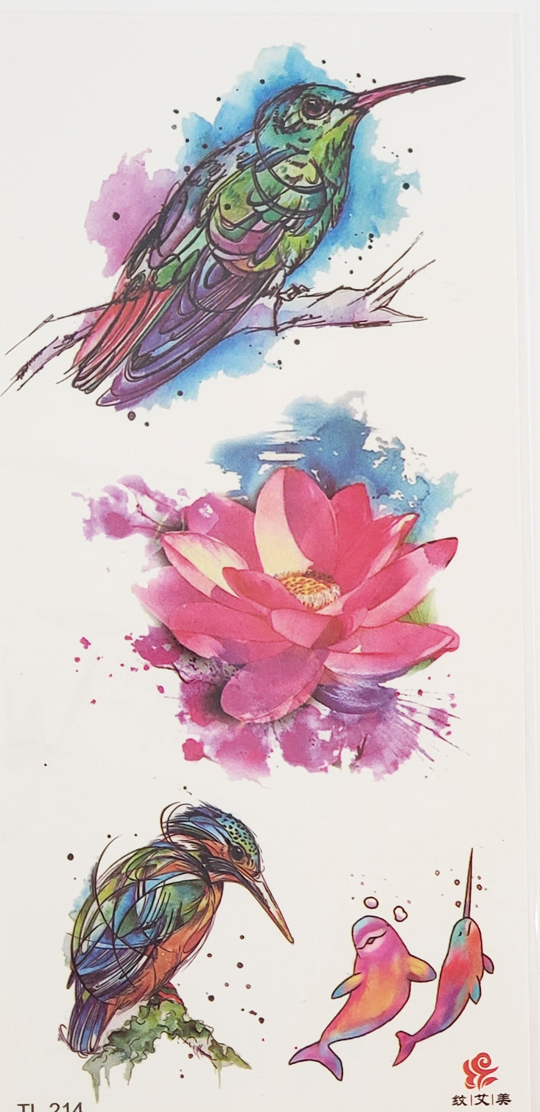 CS Watercolor Birds and Flower Tattoo - 7 x 3