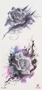 Shades of Purple and Black Rose Tattoo - 7 x 3""