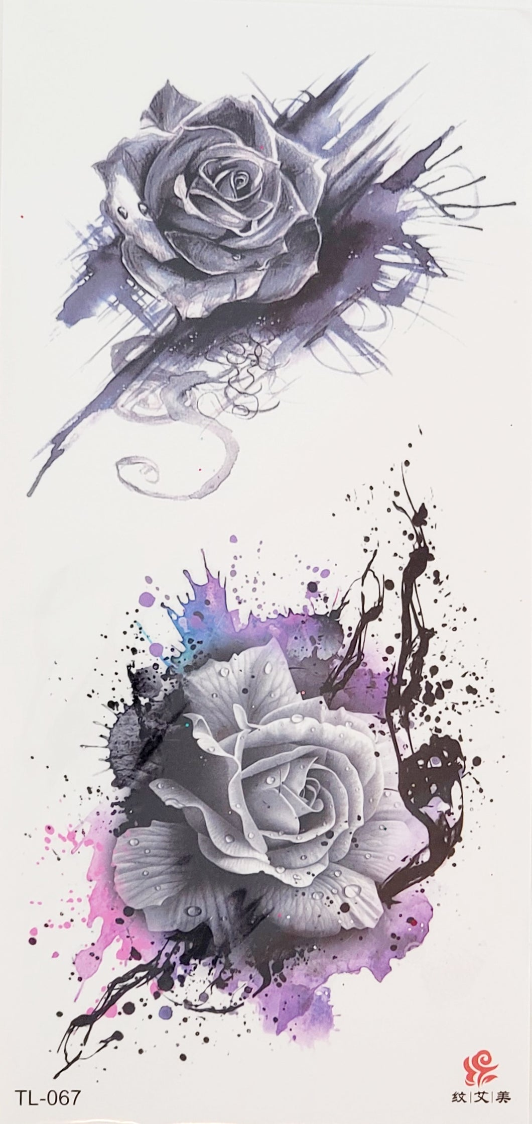 Shades of Purple and Black Rose Tattoo - 7 x 3