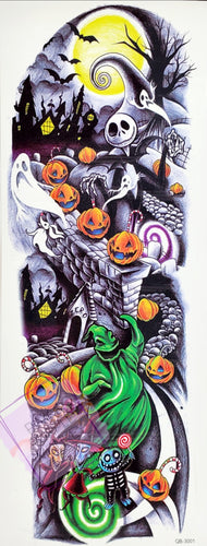 Full Sleeve Dancing Pumpkins Halloween Nightmare Tattoo  - 17x6